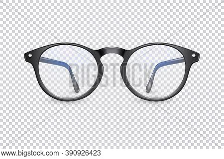 Vector 3d Realistic Plastic Round Black Rimmed Eye Glasses Icon Closeup Isolated On Transparent Back