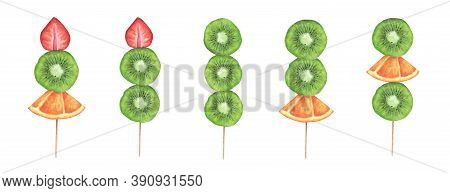 Slices Of Strawberry, Kiwi And Orange On A Wooden Stick On White Background. Watercolor Illustration