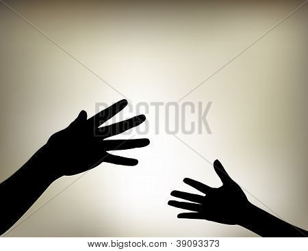 Hands Reaching Out for Each Other
