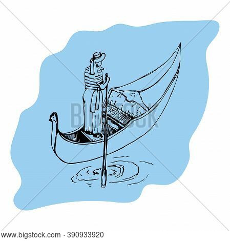 Gondola With A Gondolier On A Blue Background
