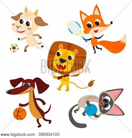 Playing Animals With Games Tools Isolated On White. Vector Set Of Cute Cartoon Dog, Fox, Cat, Goat A