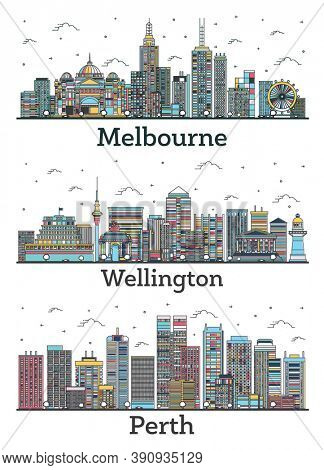 Outline Wellington New Zealand, Perth and Melbourne Australia City Skylines Set with Color Buildings Isolated on White. Cityscapes with Landmarks.