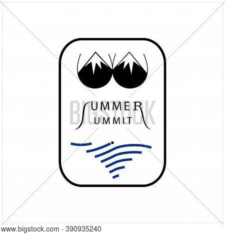 Beauty Mountain And Sea Like Bikini With Letter Summer Summit Vector Logo Design Inspiration