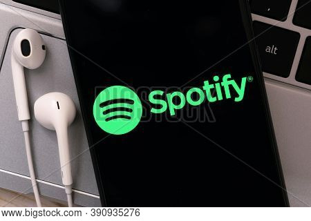 Krakow, Poland - October 20, 2020:  Spotify Sign On The Smartphone Screen. Spotify Is One Of The Mos