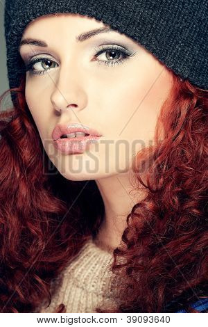 Red hair. Fashion girl portrait.Accessory.
