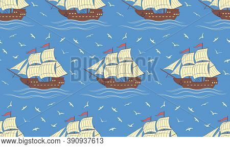 Seamless Vector Pattern With Sailboats And Gulls. Can Be Used For Graphic Design, Textile Design Or
