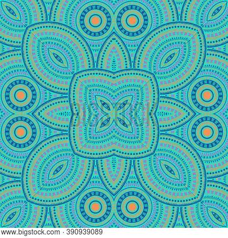Ornate Moroccan Zellige Tile Seamless Pattern. Geometric Texture Vector Patchwork. Carpet Print Desi