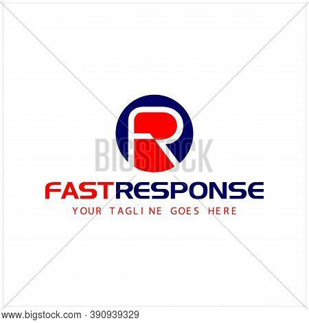 Simple Initial F R Isolated With Circle And Letter Fast Response For Delivery Company Logo Design In