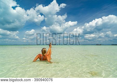 Beautiful Woman at the beach in Poda island  Thailand