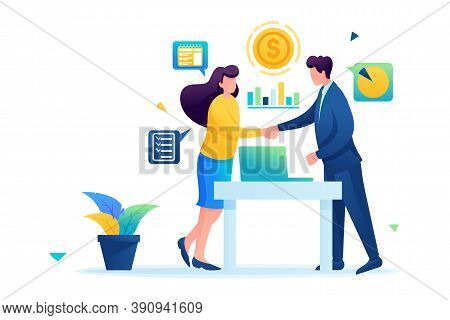 Partners Have Reached A Profitable Cooperation, Business Partnership. Flat 2d. Vector Illustration W
