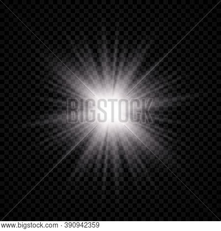 Light Effect Of Lens Flare. White Glowing Light Explodes With Starburst Effects And Sparkles On A Tr