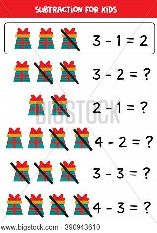 Subtraction With Cartoon Gift Boxes. Math Worksheet.