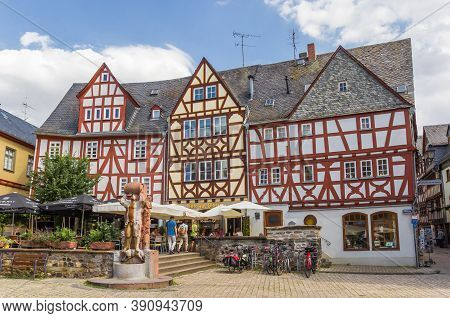 Limburg An Der Lahn, Germany - August 02, 2019: Half Timbered Houses A The Market Square Of Limburg