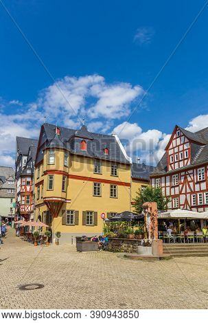 Limburg An Der Lahn, Germany - August 02, 2019: Central Market Square In Historic Limburg An Der Lah