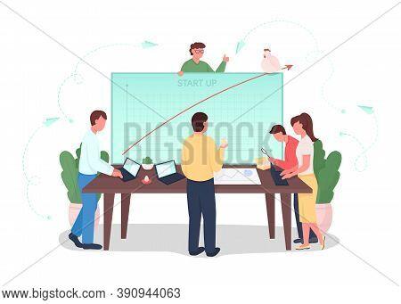 Startup Flat Concept Vector Illustration. Teamwork On Project Development. Analyzing Financial Chart