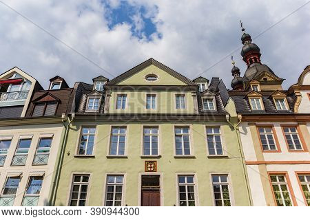 Koblenz, Germany - August 03, 2019: Facades Of Historic Houses In The Center Of Koblenz, Germany