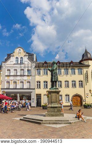 Koblenz, Germany - August 03, 2019: Statue Of Johannes Muller At The Jesuitenplatz In Koblenz, Germa