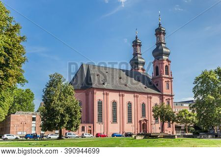 Mainz, Germany - August 04, 2019: Historic Peterskirche Church In The Center Of Mainz, Germany
