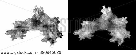 Set Of Abstract Black And White Torn Elements With Stone Texture. Veins And Circles Are Visible On T