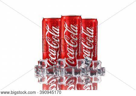 Kuala Lumpur, Malaysia - October 19, 2020 : Coca Cola Or Coke Drink On White Background