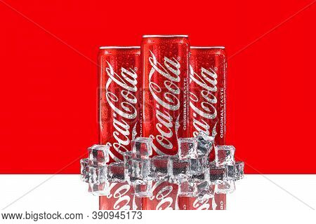 Kuala Lumpur, Malaysia - October 19, 2020 : Coca Cola Or Coke Drink On Red Background