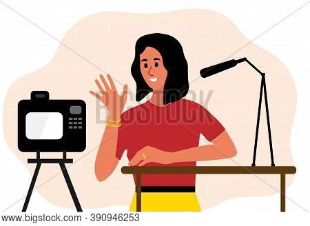 Woman Blogger Make Video Tutorial. Female Podcaster Talking To Camera Using Microphone. Vector Illus