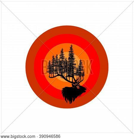 Deer Stag Buck Silhouette And Pine, Evergreen Tree Forest With Old School Background Logo Design Vec
