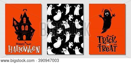 Halloween Hand Drawn Invitation Or Greeting Cards Vector Set. Traditional Halloween Symbols Haunted