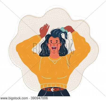 Vector Illustration Of Upset Young Woman Has Problems With Her Hair. Loose Curls On The Comb