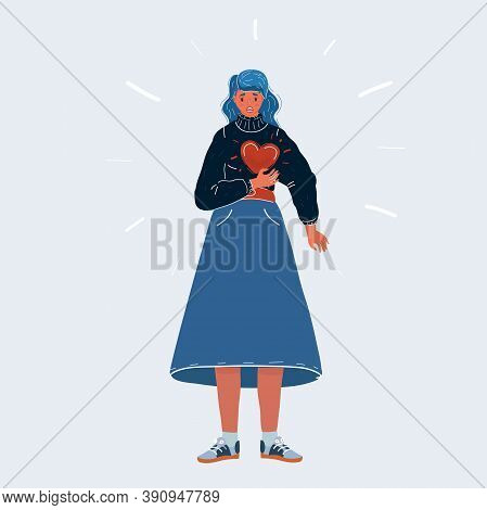 Vector Illustration Of Full-length Woman With Heartache Or Panic Attack. Stress, Doctor Visits Needi