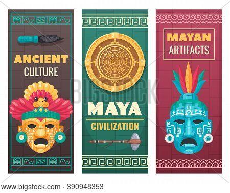 Maya Civilization Ancient Culture Textile Stone Artifacts Museum Exhibit Advertisement Announcement
