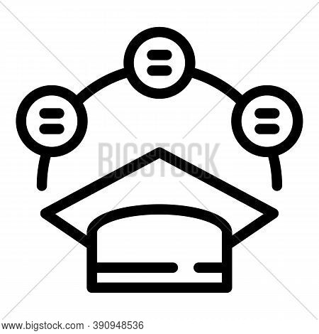Student Graduated Hat Icon. Outline Student Graduated Hat Vector Icon For Web Design Isolated On Whi