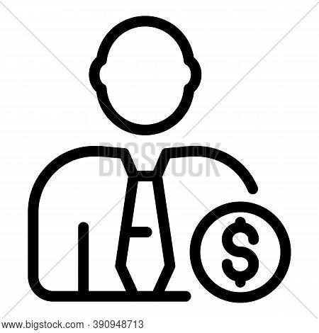 Student Job Businessman Icon. Outline Student Job Businessman Vector Icon For Web Design Isolated On