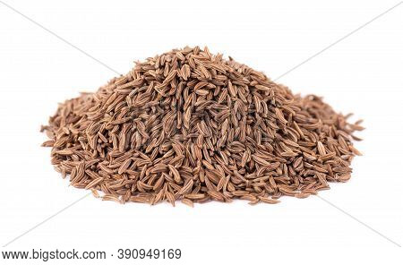 Cumin Seeds Isolated On White Background. Cumin Seeds Or Caraway.