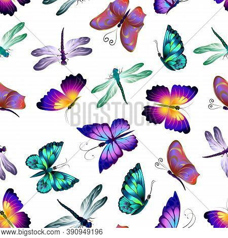 Pattern With Butterflies And Dragonflies.multicolored Butterflies And Dragonflies In A Pattern On A