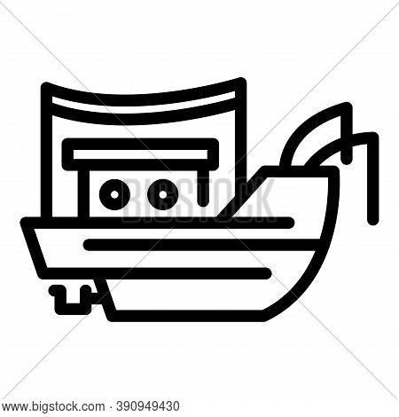 Marine Fishing Ship Icon. Outline Marine Fishing Ship Vector Icon For Web Design Isolated On White B