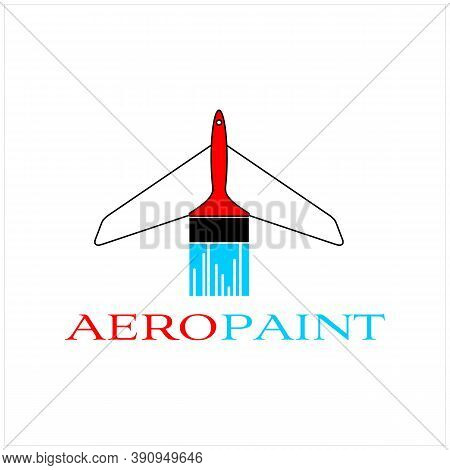 Minimalist Paint Brush And Plane  With Letter Aero Paint Vector Logo Design