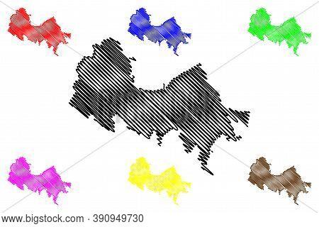 Valparaiso City (republic Of Chile, Valparaiso Region) Map Vector Illustration, Scribble Sketch City