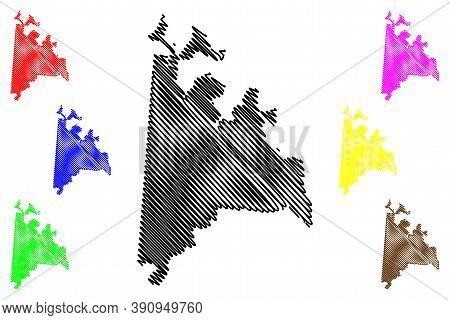 Ciudad Del Este City (republic Of Paraguay, Alto Parana Department) Map Vector Illustration, Scribbl