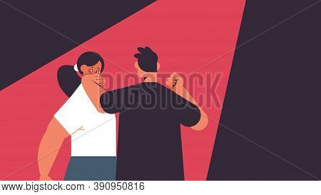 Angry Man Punching And Hitting Woman Stop Domestic Violence And Aggression Against Women Portrait Ho