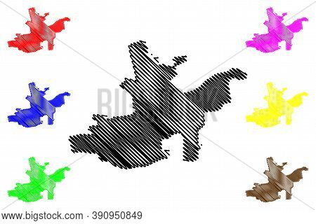 Maturin City (bolivarian Republic Of Venezuela, Monagas State) Map Vector Illustration, Scribble Ske