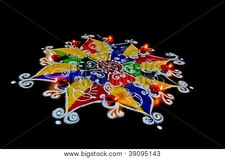 Rangoli On A Black Surround