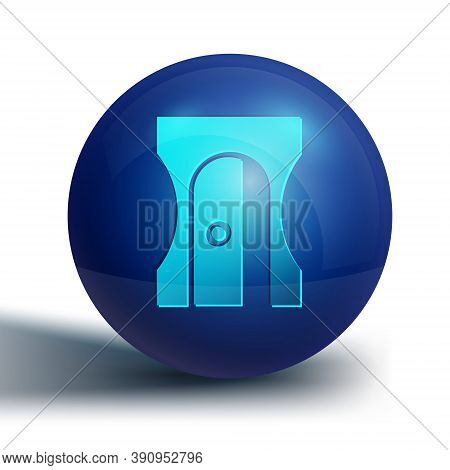 Blue Pencil Sharpener Icon Isolated On White Background. Blue Circle Button. Vector Illustration