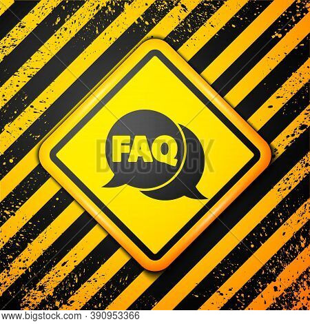 Black Speech Bubble With Text Faq Information Icon Isolated On Yellow Background. Circle Button With