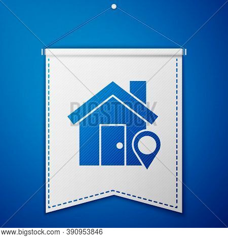 Blue Map Pointer With House Icon Isolated On Blue Background. Home Location Marker Symbol. White Pen