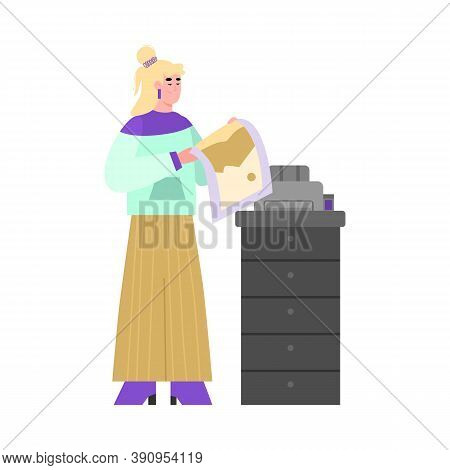 Woman Cartoon Character Printing On Professional Offset Printing Or Copying Equipment, Flat Vector I