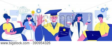 Online Education Flat Horizontal Composition With Students In Chemical Lab Academic Cap Internationa