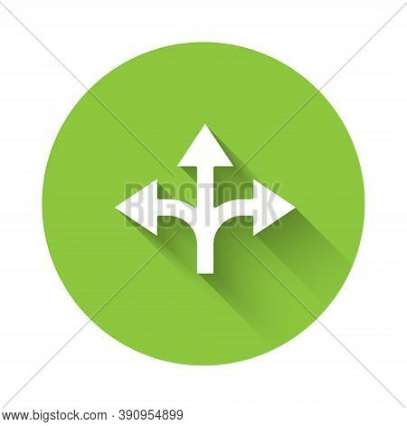 White Road Traffic Sign. Signpost Icon Isolated With Long Shadow. Pointer Symbol. Isolated Street In