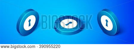 Isometric Keyhole Icon Isolated On Blue Background. Key Of Success Solution. Keyhole Express The Con