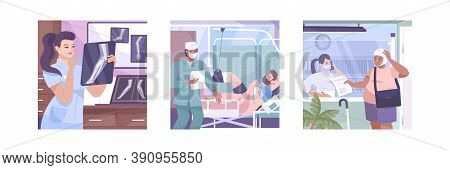 Fracture Flat Illustration Set With Doctor Looking At X Ray Examines The Patient S Medical History A